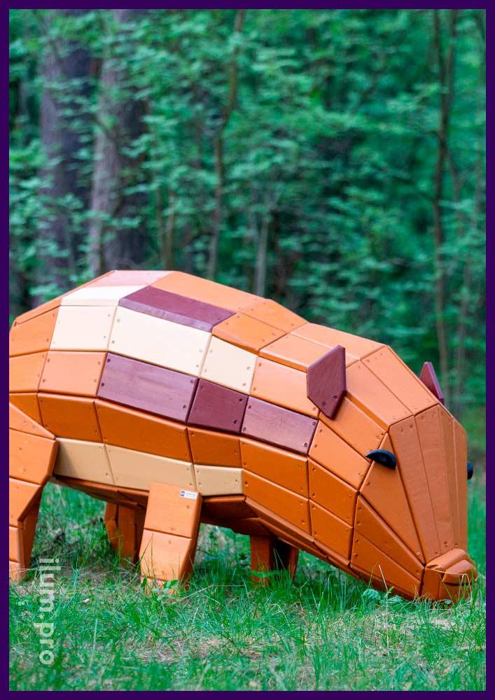 Свинья с деревянным каркасом из сосны и ели, арт-объект для украшения детской площадки
