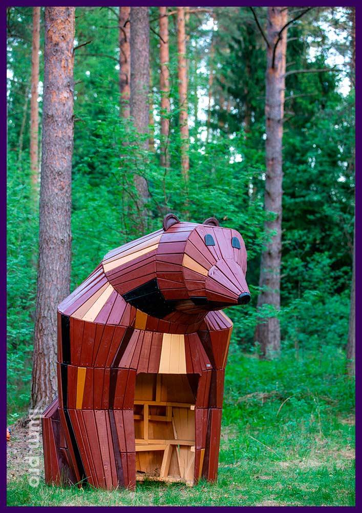 Деревянный домик со скамейкой внутри, медведица для парков и скверов, а также детских площадок