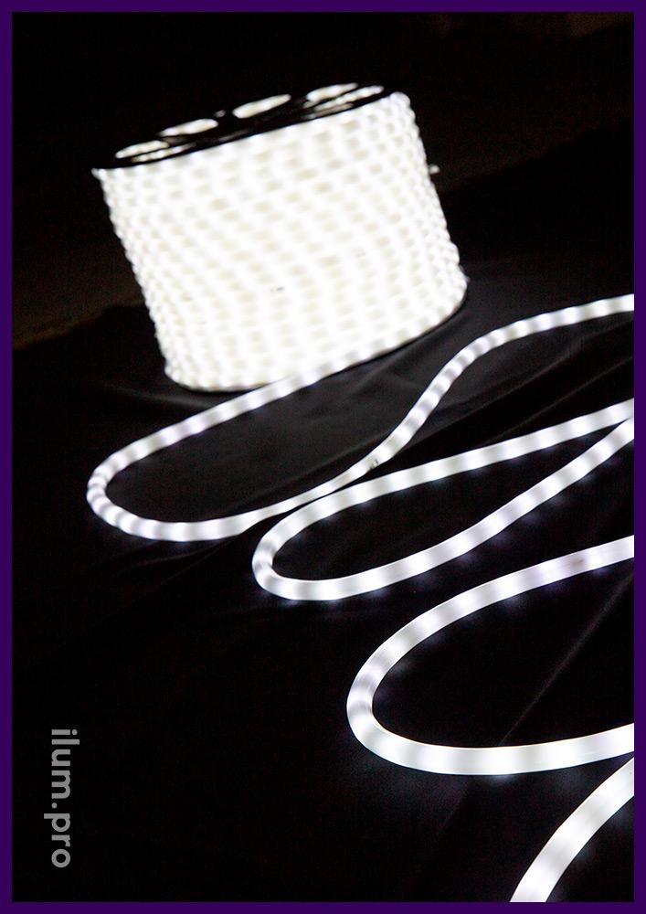 Белый матовый светодиодный дюралайт в бухтах длиной 100 метров, IP65