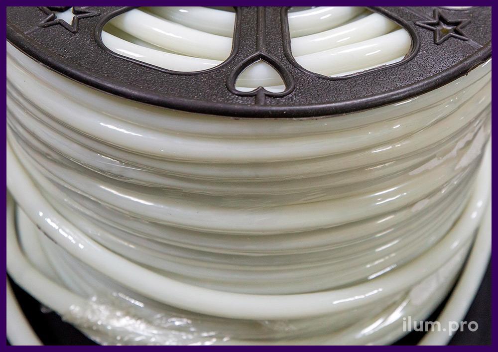 Матовый светодиодный дюралайт белого цвета с трубкой из ПВХ и защитой по стандарту IP65
