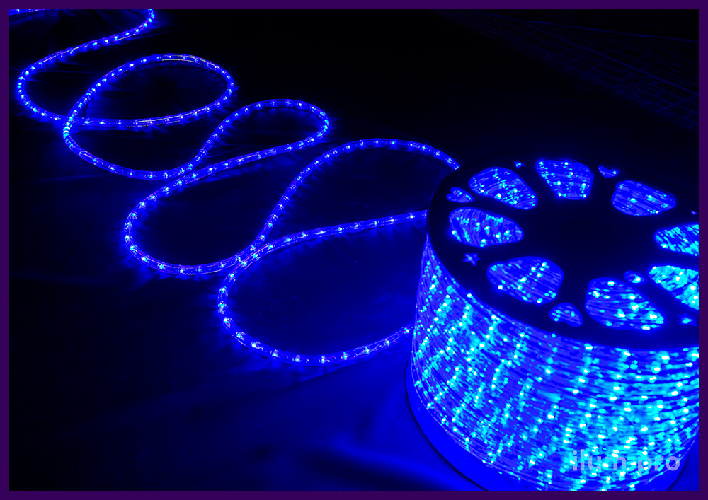 Синий светодиодный дюралайт диаметром 13 мм с прозрачной трубкой из ПВХ