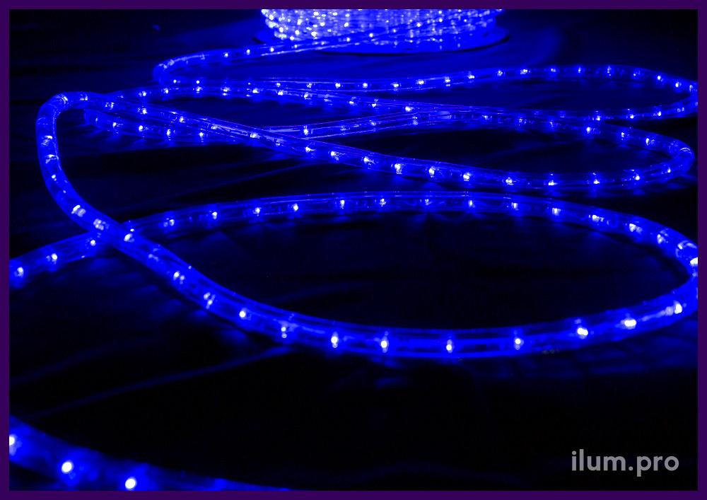 Прозрачный светодиодный дюралайт синего цвета в катушках длиной 100 метров