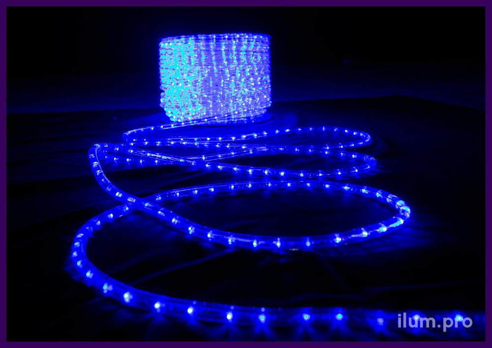 Дюралайт в прозрачной трубке со светодиодами синего цвета, защита от осадков IP65