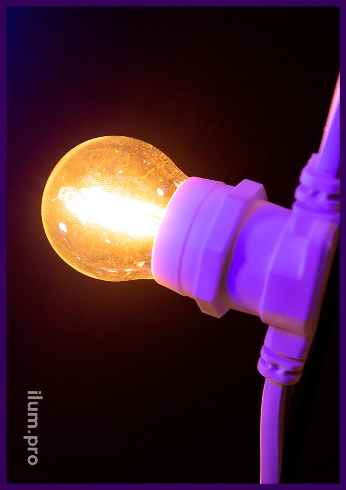 Светодиодная лампочка с прозрачной колбой, филаментный модуль тёпло-белого цвета