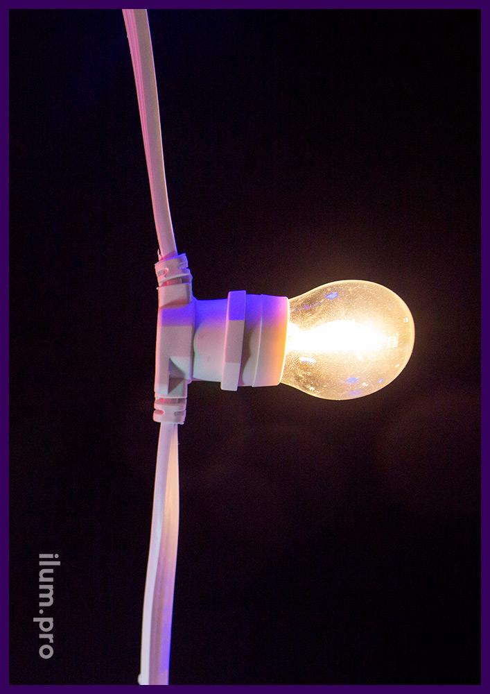 Филаментная лампочка белтлайт мощностью 2 Вт с тёпло-белым свечением для улицы и интерьера