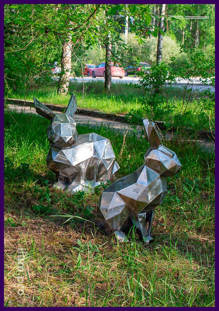 Стальные полигональные фигуры зайцев разных размеров и формы для сада или парка