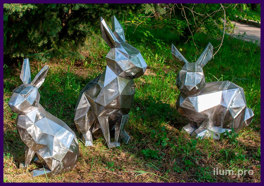 Металлические фигуры полигональных зайцев, арт-объекты для парков и скверов