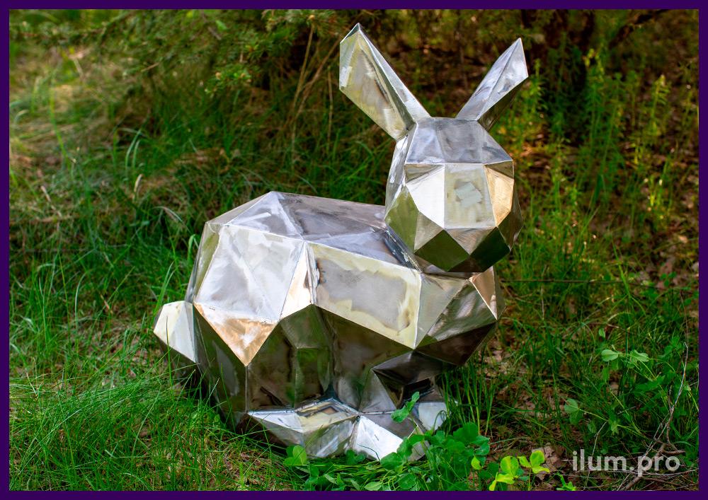Заяц полигональный металлический арт-объект для украшения ландшафта в парках и скверах