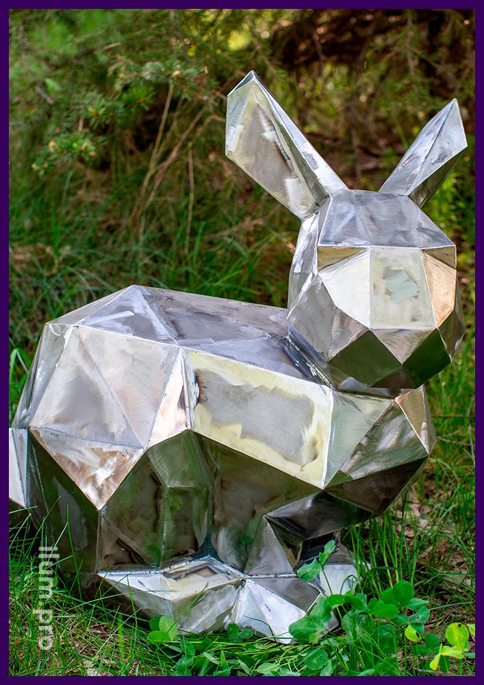 Полигональная фигура из стали в форме зайца для украшения ландшафта сада