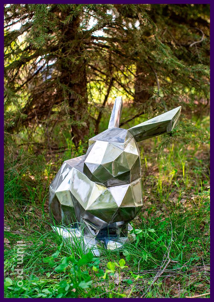 Полигональные зайцы из стали для благоустройства парков и скверов, а также украшения сада