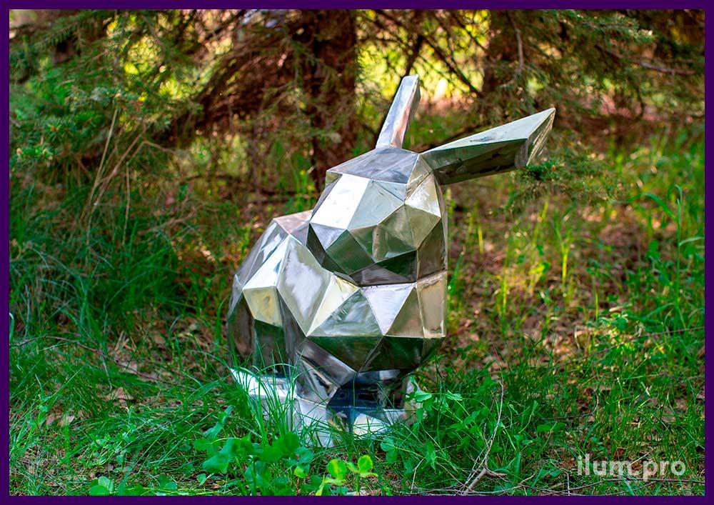 Заяц полигональный металлический - скульптура для украшения сада или парка