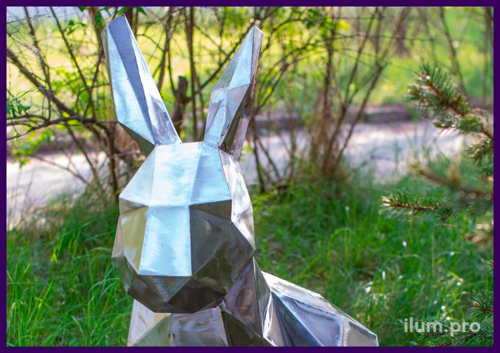 Заяц полигональный из металла, фигура для установки в саду, украшения парков и скверов