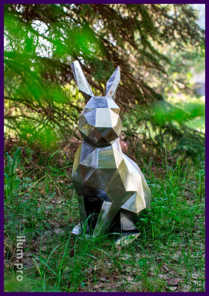 Стальные полигональные зайцы для благоустройства парков и территории ЖК