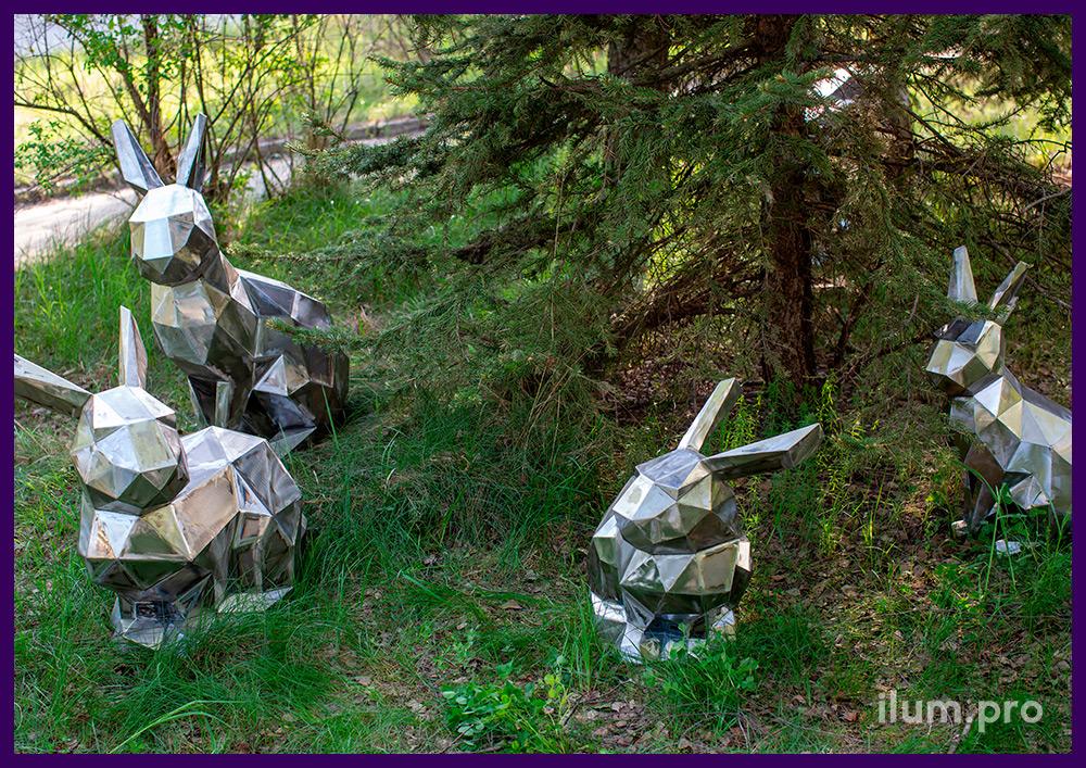 Семья полигональных кроликов из стали, фигуры разной формы и размеров для сада