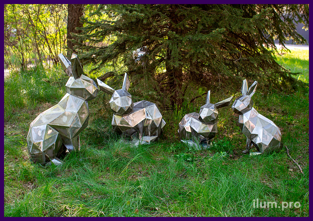 Металлические полигональные зайцы - ландшафтные скульптуры для благоустройства территории