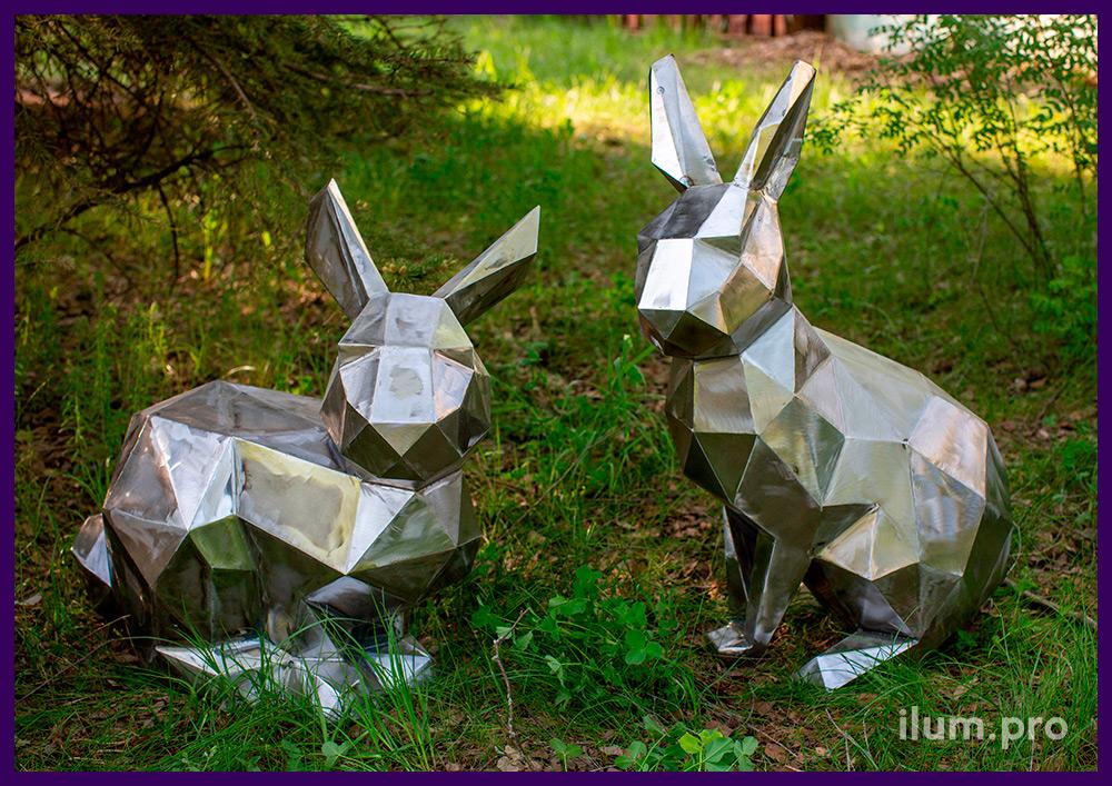 Зайцы металлические полигональные разной формы с шлифованными гранями