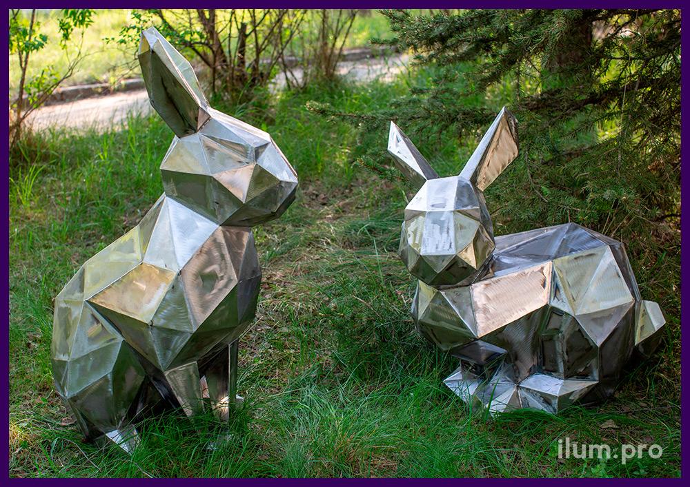 Полигональные фигуры зайцев из листовой стали для парков и скверов