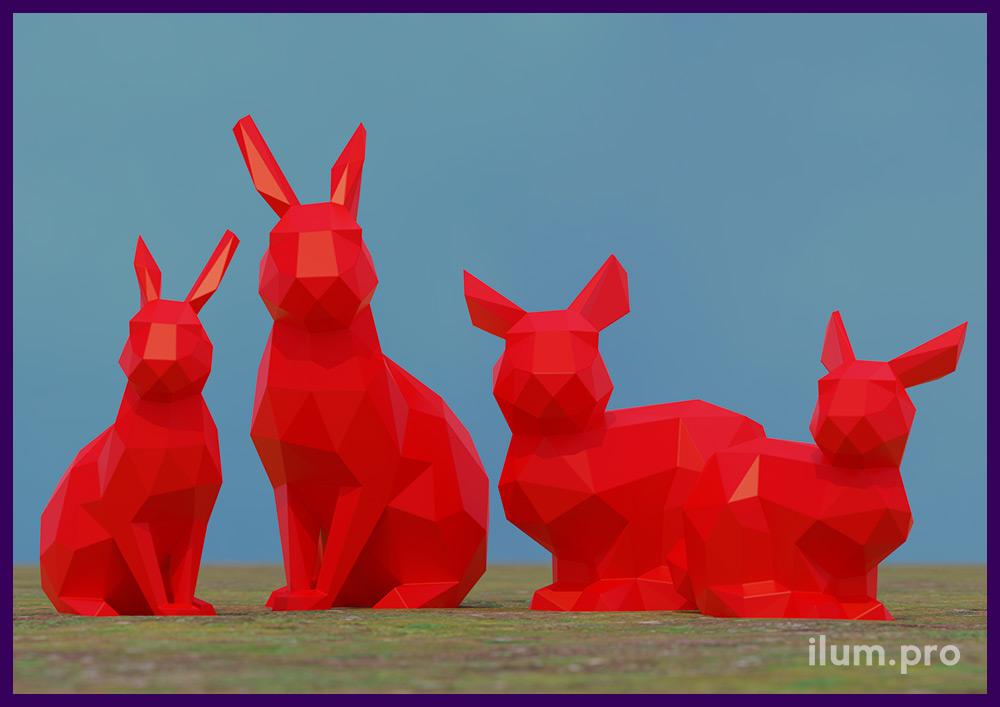 Проект установки полигональных фигур зайцев из крашеного металла