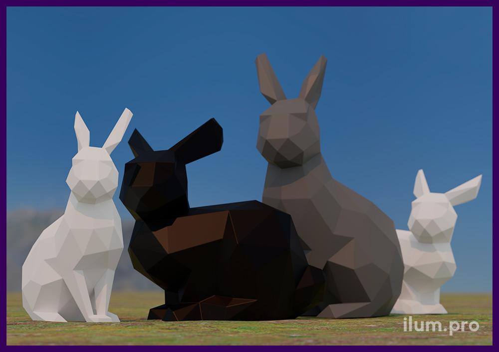 Белые, чёрные и серые полигональные фигуры зайцев из металла - проект