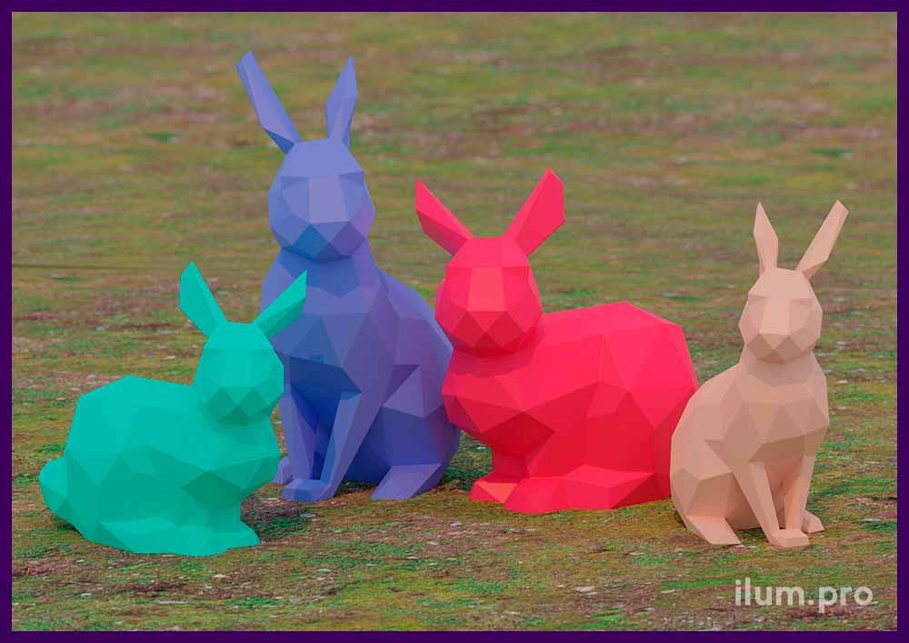 Проект разноцветных полигональных фигур зайцев (кроликов) из листовой стали