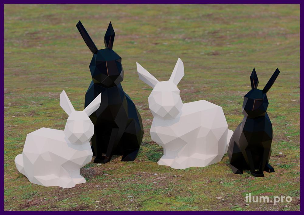 Разноцветные полигональные фигуры зайцев из крашеной стали - проект установки