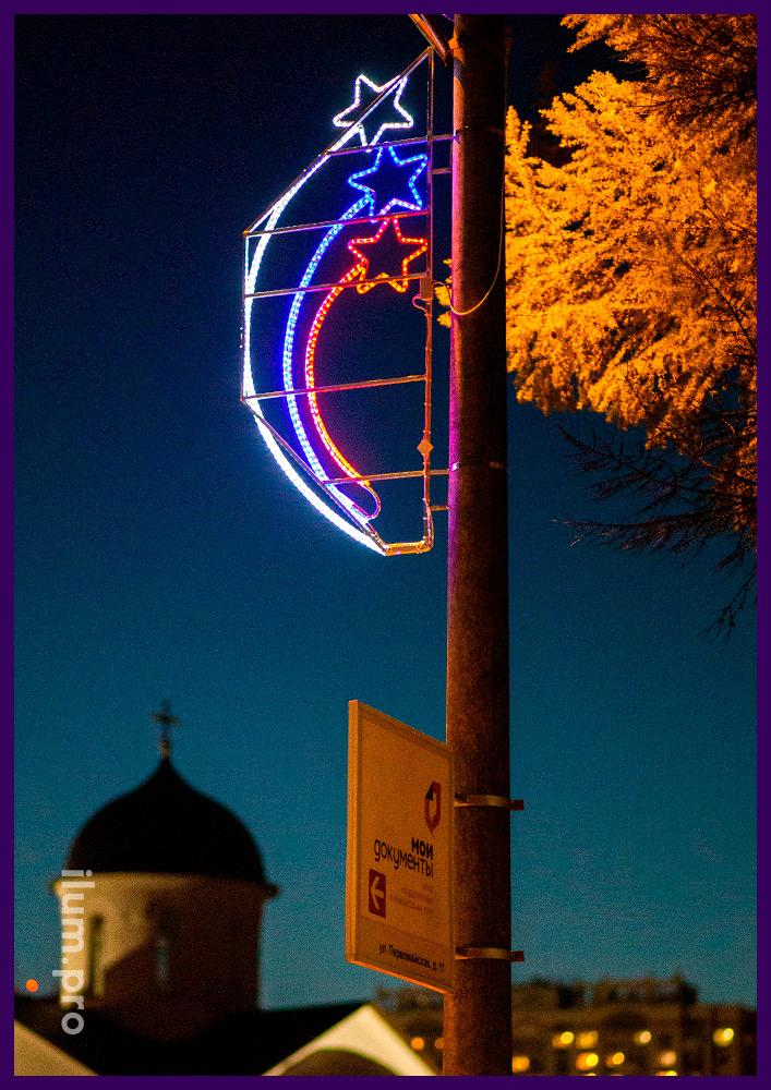 Уличные световые консоли с белым, синим и красным дюралайтом с матовой трубкой