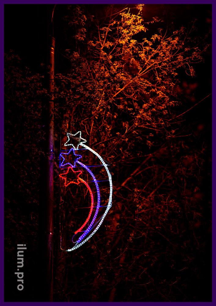Подсветка фонарных столбов вдоль дорог декоративными консолями с матовым дюралайтом