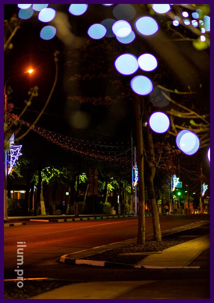 Консоли для уличных фонарей из дюралайта и светодиодных гирлянд в форме звёзд