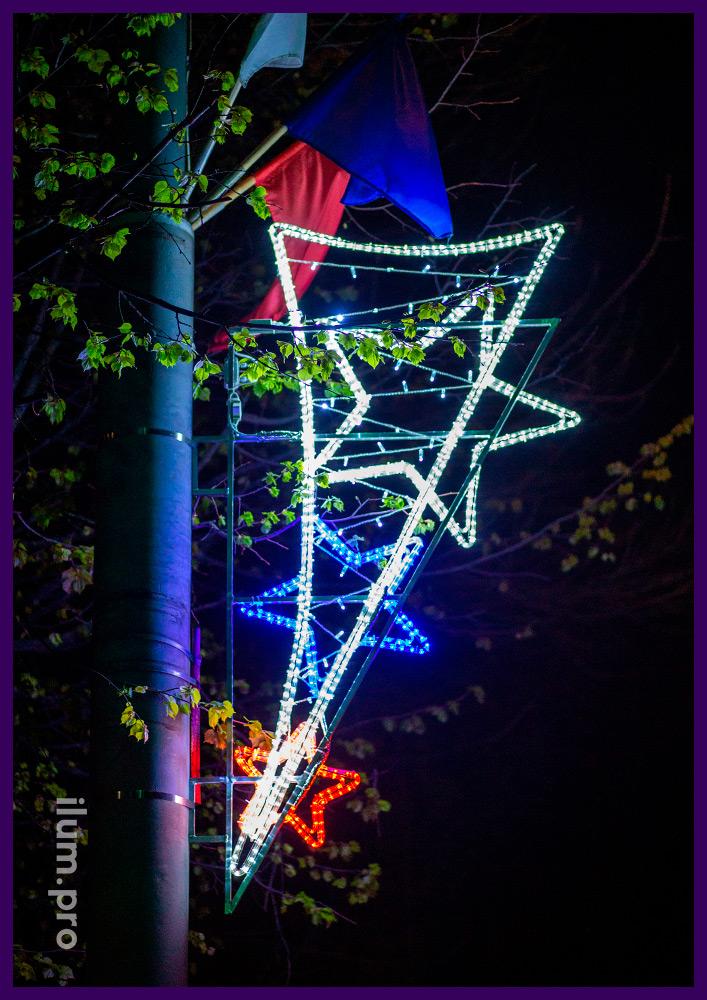 Консоль со звёздами из дюралайта и светодиодными гирляндами на металлическом каркасе
