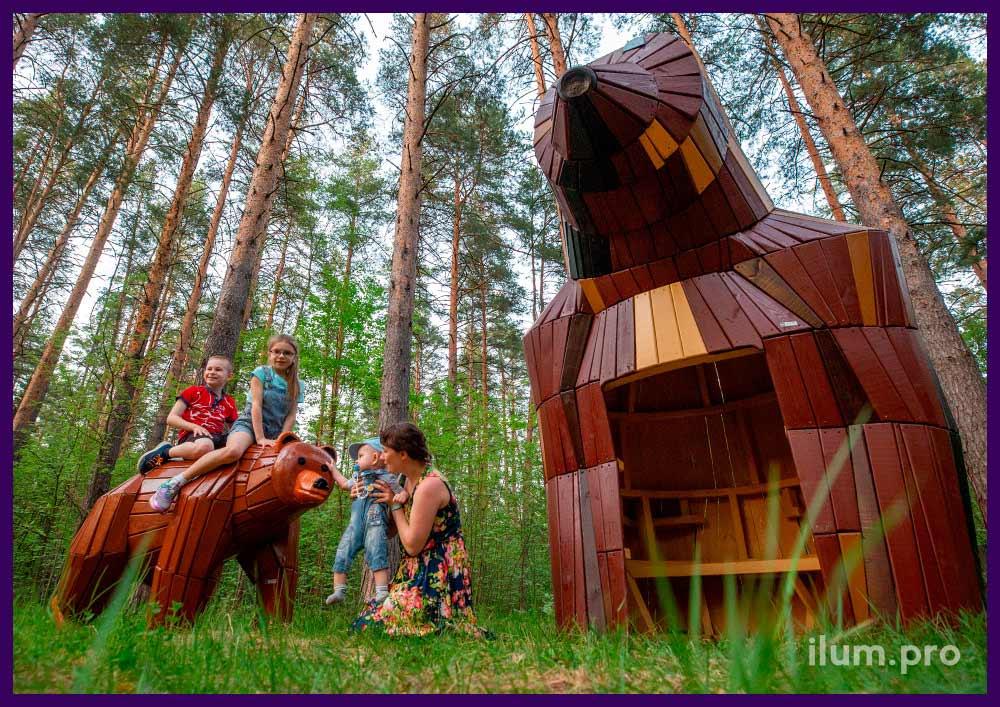 Благоустройство территории парка, установка деревянных фигур животных с защитным покрытием