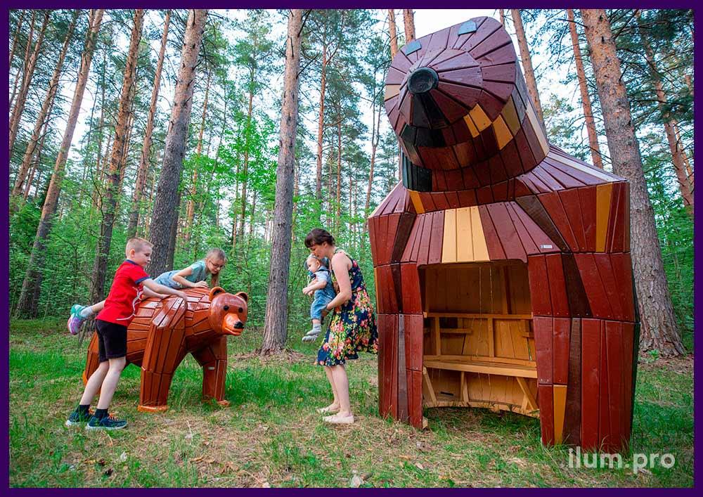 Деревянные животные - арт-объекты для парков и скверов для детей и взрослых