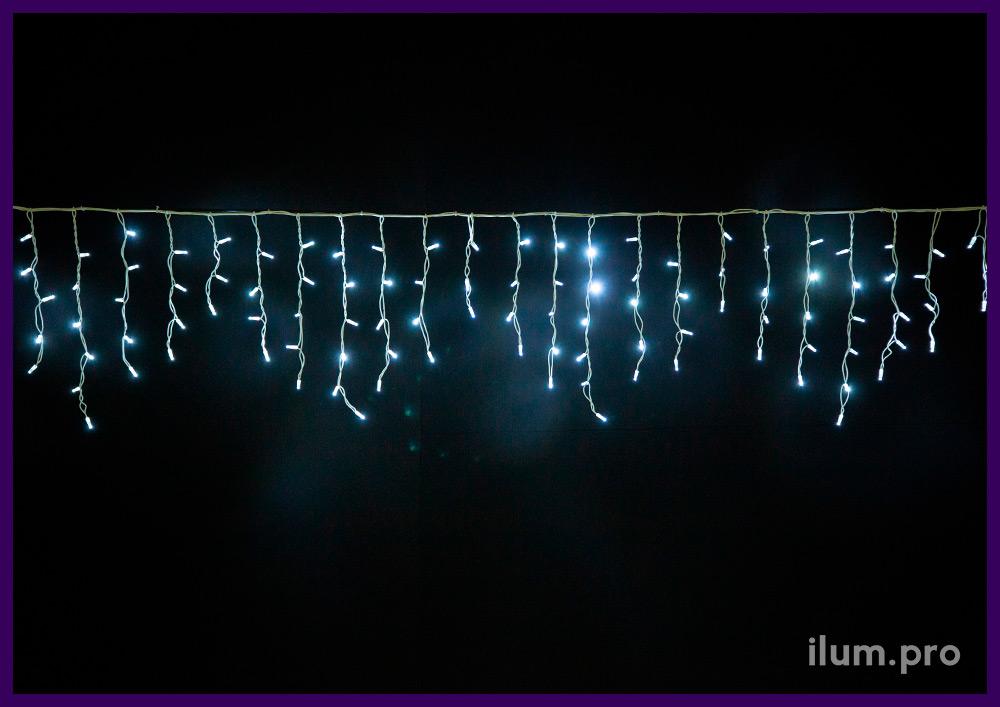 Белая светодиодная бахрома статического свечения, белый каучуковый провод