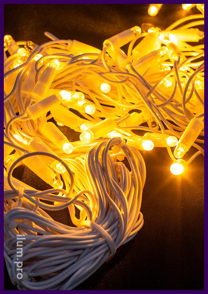 Бахрома светодиодная тёпло-белого цвета со статическим свечением на белом проводе из каучука
