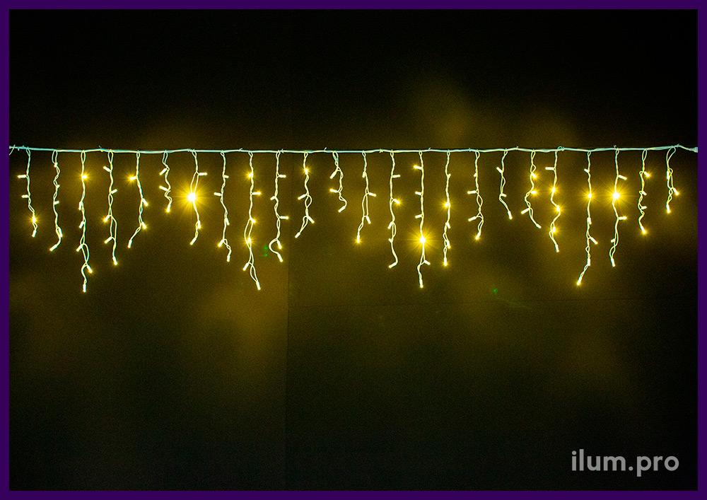 Уличная светодиодная бахрома 3х0,6 метра на резиновом проводе, тёпло-белое свечение