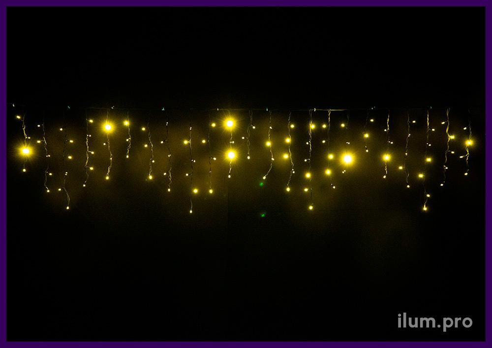 Бахрома 3х0,6 метра статического свечения на резиновом кабеле, тёпло-белые диоды