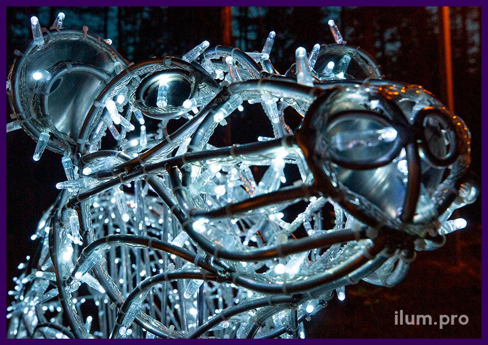 Влагостойкая световая фигура в форме медведя, алюминиевый каркас с уличными гирляндами