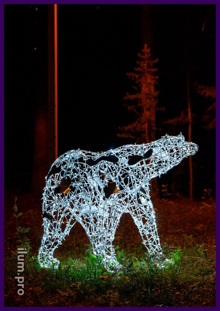 Световая фигура белого медведя для благоустройства парка, защита гирлянд по стандарту IP65