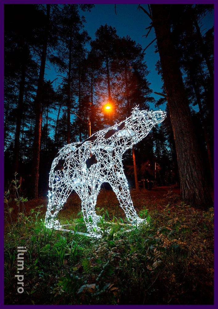 Светодиодная фигура белого медведя с уличными гирляндами для парков и скверов