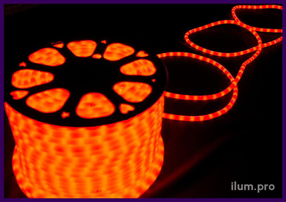 Бухта матового светодиодного дюралайта красного цвета длиной 100 метров