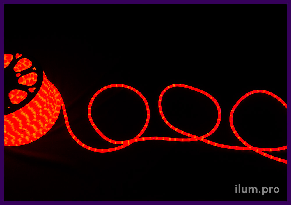 Дюралайт матовый красный для улицы и интерьера, бухта 100 м, диаметр трубки 13 мм