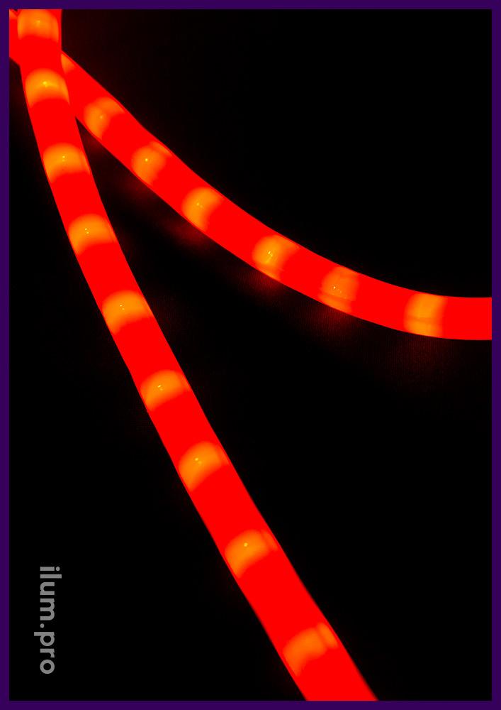 Красный световой шнур диаметром 13 мм с матовой оболочкой из ПВХ