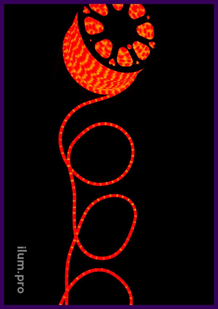 Уличный светодиодный дюралайт красного цвета, матовая трубка из ПВХ с перемычками