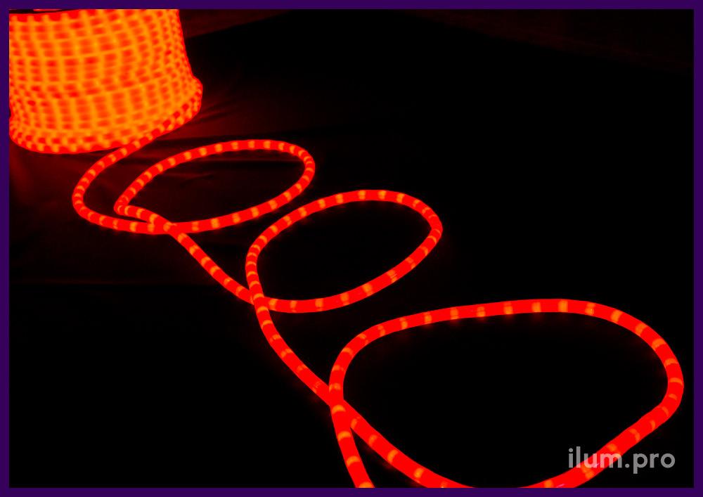 Красный матовый дюралайт со светодиодами внутри трубки из ПВХ и силикона