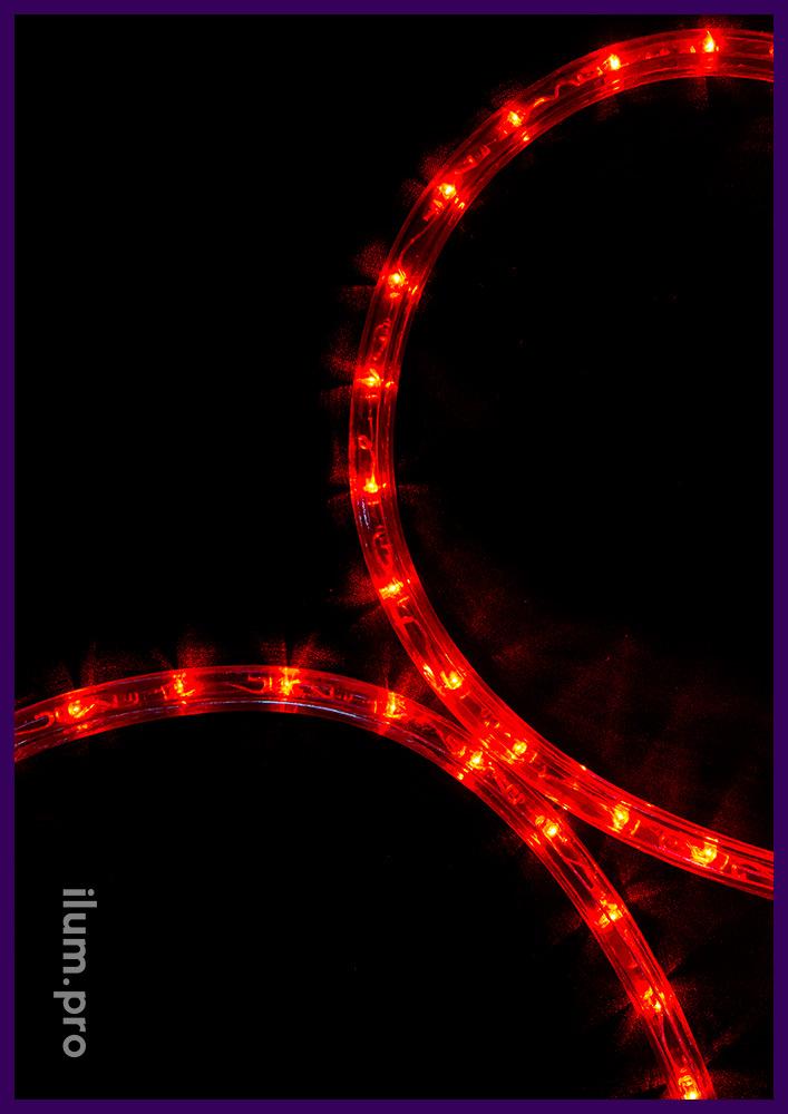 Красный светодиодный дюралайт с прозрачной оболочкой, защита от осадков IP65