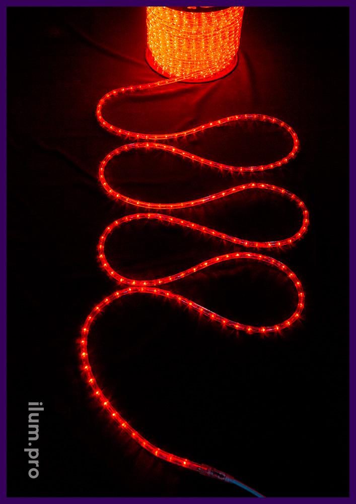 Бухта красного светодиодного дюралайта, прозрачная гирлянда длиной 100 метров