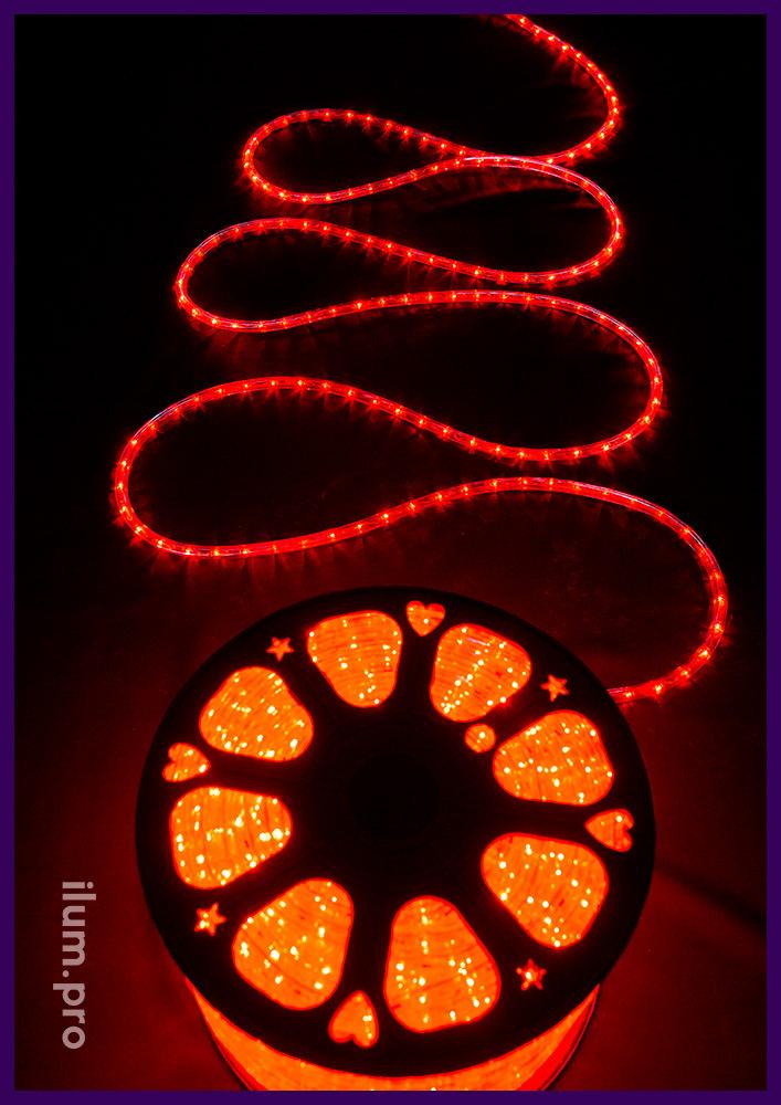 Красный светодиодный дюралайт с прозрачной оболочкой из морозостойкого ПВХ
