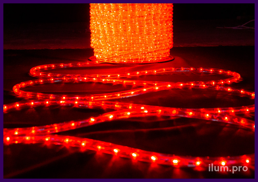 Дюралайт красный с прозрачной оболочкой, диаметр 13 мм, длина бухты 100 м
