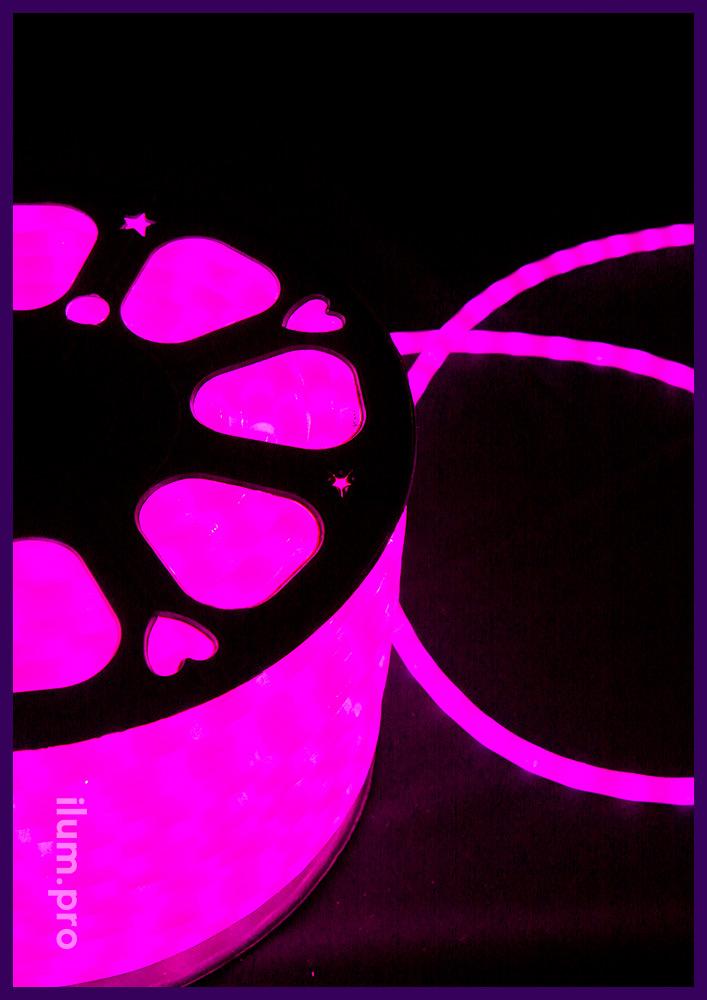 Розовый матовый светодиодный дюралайт диаметром 13 мм
