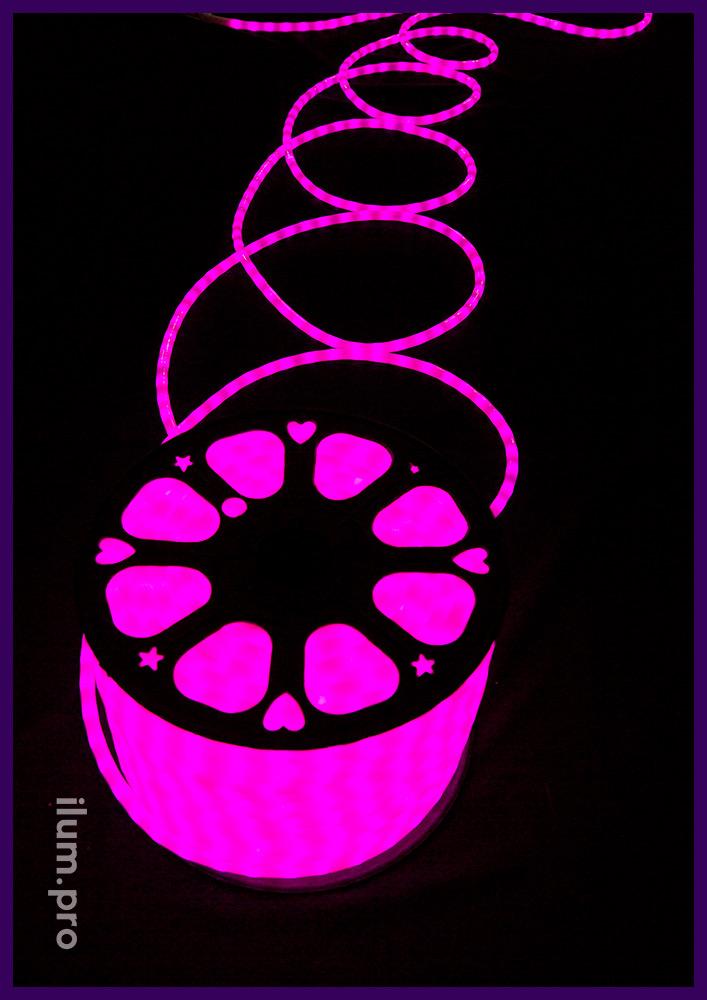 Матовый светодиодный дюралайт розовый с трубкой из ПВХ с добавлением силикона