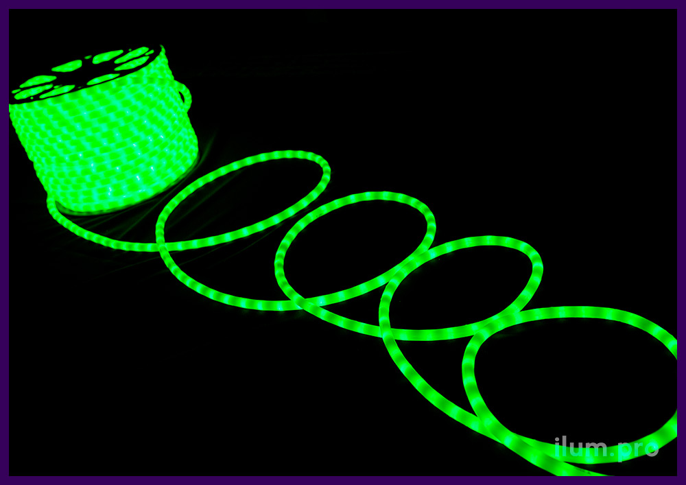 Матовый дюралайт зелёного цвета, защита от осадков по стандарту IP65